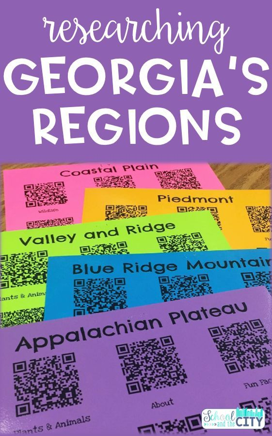 QR codes researching the Georgia Regions in the elementary classroom: Piedmont, Coastal Plain, Appalachian Plateau, Blue Ridge Mountains, and Ridge and Valley regions