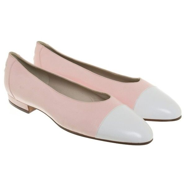Pre-owned Ballerinas in rosé / white (1.170 BRL) ❤ liked on Polyvore featuring shoes, flats, pink, white block heel shoes, white shoes, pink ballet shoes, pink shoes and ballerina flats