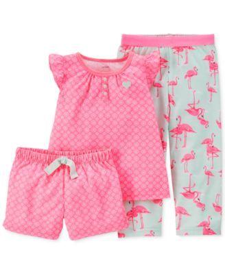 Carter's Baby Girls' 3-Piece Floral Flamingo Pajamas