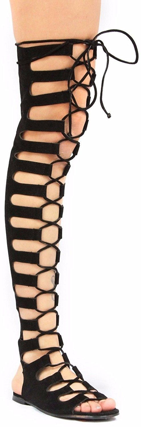 CR Jovena Thigh High Tie Up Back Zipper Open Toe Heel Flat Gladiator Sandal Shoe Black * Awesome product. Click the image : Lace up sandals