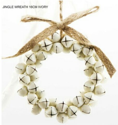 jingle Bells wreath 16cm ivory
