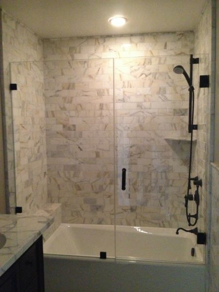 REMOVING A TUB: The homeowner wanted to update the master An old, pink tub was replaced by a sleek, walk-in shower with a frameless glass door. Description from bathroomidea.us. I searched for this on bing.com/images