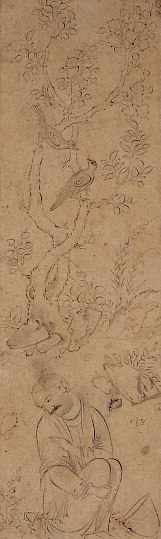 Seated Man in a Landscape Iran, Qazwin, circa 1590 Ink on paper 6 7/8 x 2 1/8 in. (17.5 x 5.25 cm) LACMA Collections