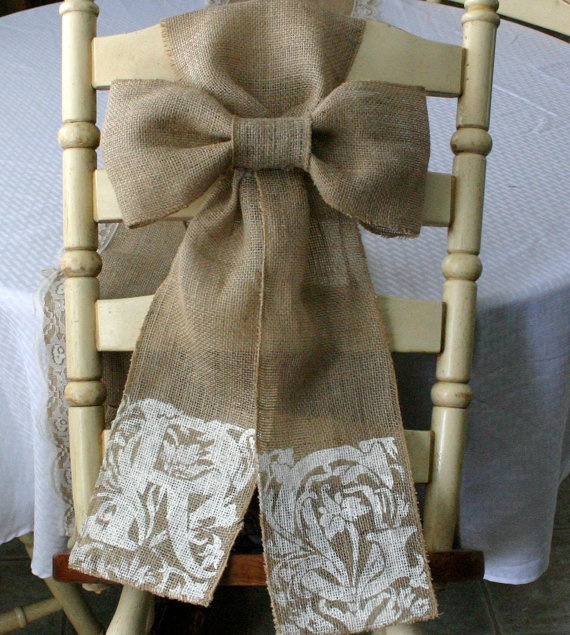 Bride+and+Groom+chair+sash+burlap+pew+bow+Bride+by+Bannerbanquet,+$34.00