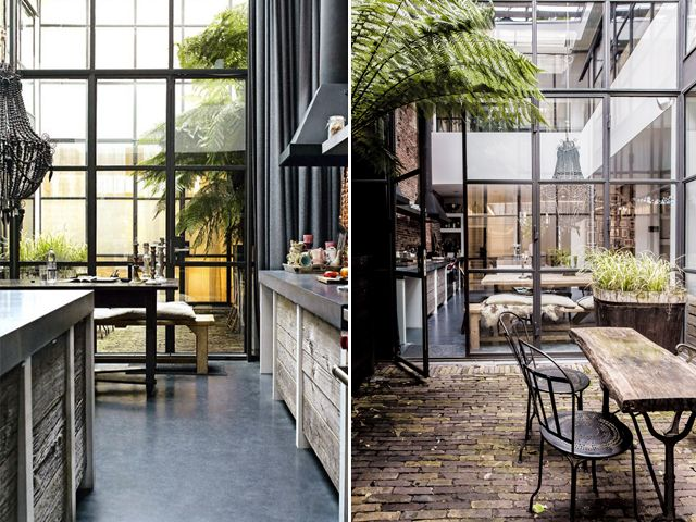 Concrete Living Marius Haverkamp's Amsterdam kitchen was the original inspiration behind our kitchen remodel. And although our kitchen concept morphed along the way, I still absolutely adore this home. The architect and his wife, children's clothing designer Emily Gray, transformed a former warehouse into a loft combining industrial elements like brick, concrete, reclaimed wood, steel and glass