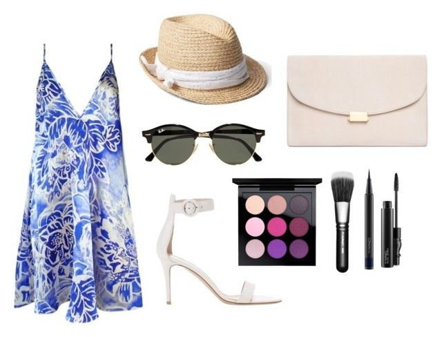 """""""Summer style"""" by alexxshaw45 ❤ liked on Polyvore featuring Plakinger, Gianvito Rossi, Gap, Ray-Ban, MAC Cosmetics and Mansur Gavriel"""