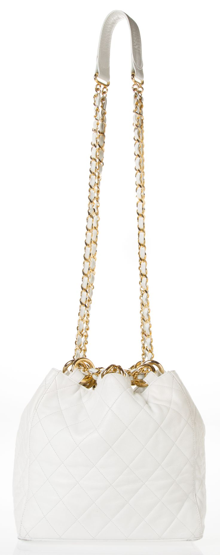 Chanel ~ White Quilted Leather Shoulder Bag w Gold Tone Chain