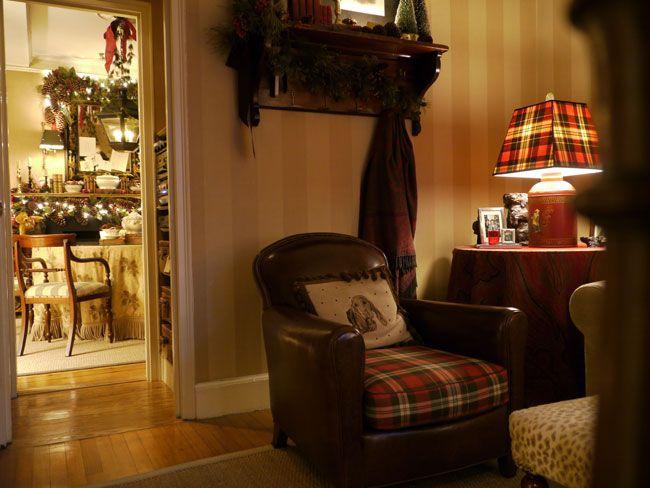 Plaid Cushion W/leather Lounge Chair Tartan Lampshades