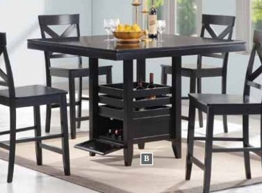 Add A Contemporary Touch To Your Dining Area With This Five Piece Black Wood Set The Counter Height Features Durable Square Table An