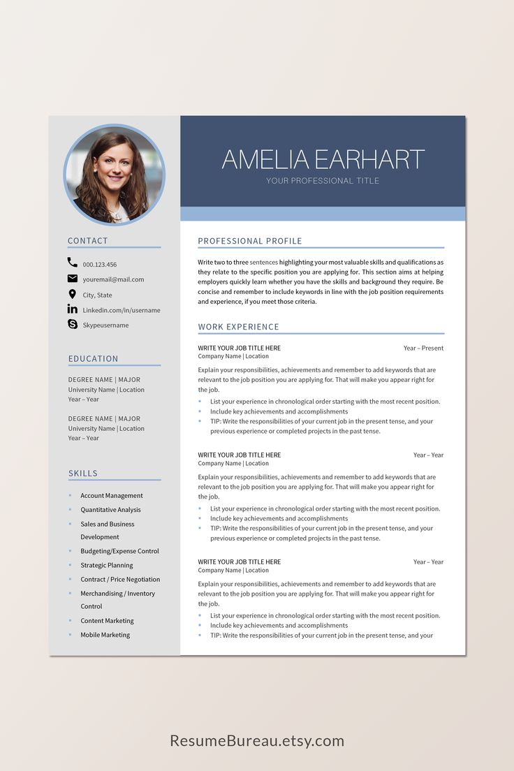 Creative resume template instant download in 2021