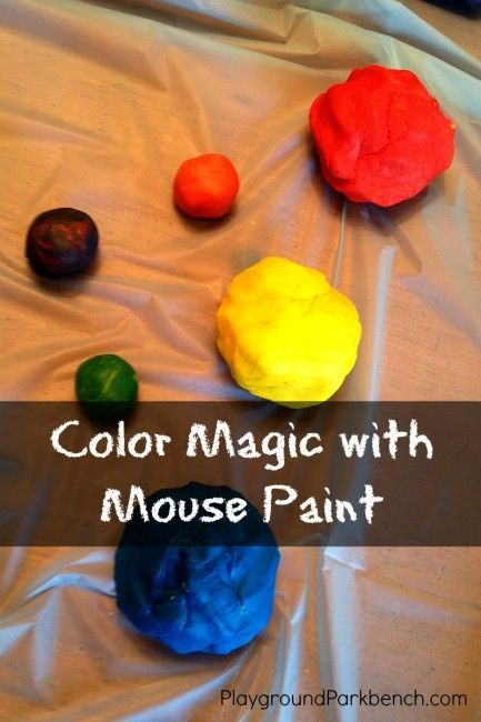 Help your kids discover the color magic of primary colors: read Mouse Paint and mix primary colored play dough!