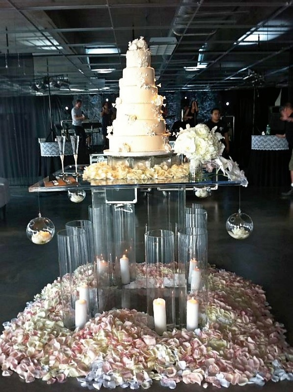 cake table flower petals by Angela Proffitt