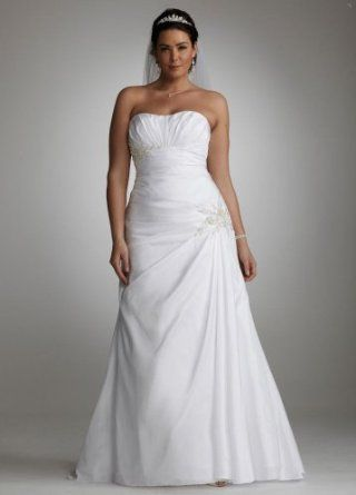 Curvy fashion: wedding dress for curvy women. Side-Draped Fit & Flare Gown with Applique Detail