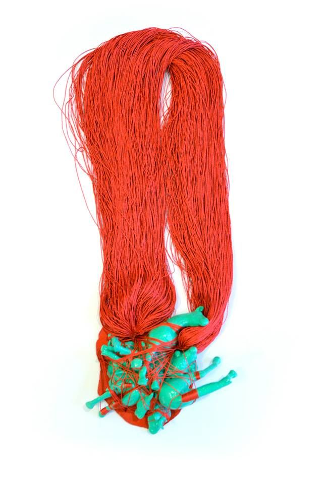 "Izabella Petrut -  ""Blood on the ground"" necklace – plastic toy, acrylic paint, copper, silk thread, varnish, 2013"