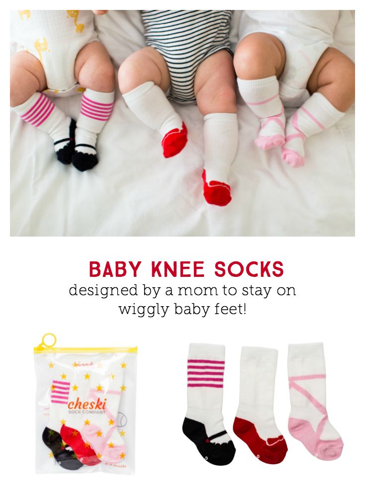Designed by a mom to stay put on baby's kicking feet! These adorable socks actually stay put on baby's kicking legs. They keep baby's shins warm from riding pant legs and won't slide down baby's feet.  Set includes 3 styles: Ballet, White Ruby Slipper & Mary Janes  Cotton blend for baby's comfort  Designed in California, Made in Korea