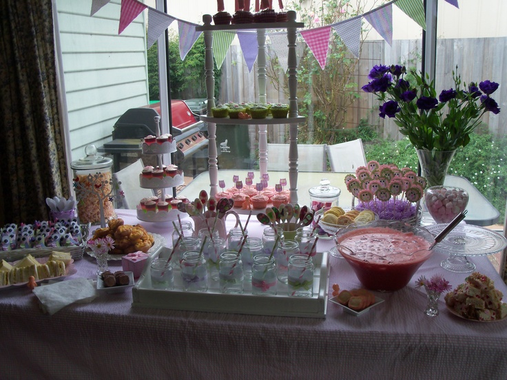 Pink, green, white & mauve make such a pretty colour combination for a little baby girls shower.