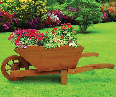 Traditional Wooden Wheelbarrow Planter Garden Plants Flowers Outdoor Natural NEW
