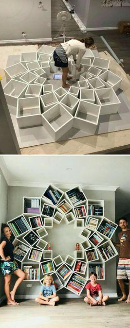 Idée de bibliothèque originale en forme de fleur :)