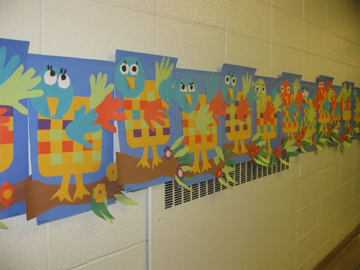 Woven birds- gr. K, tracing, weaving and collage study