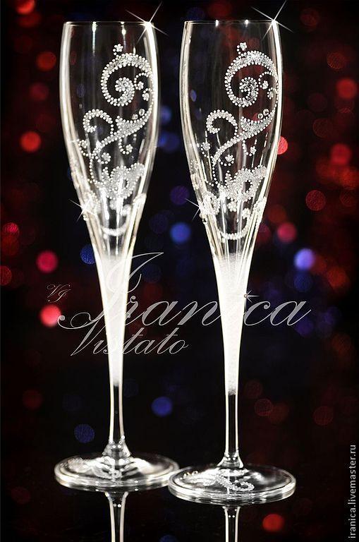 """Купить Свадебные бокалы """"Elegante"""" - свадебные аксессуары, свадебные бокалы, vip подарок, подарок на годовщину"""