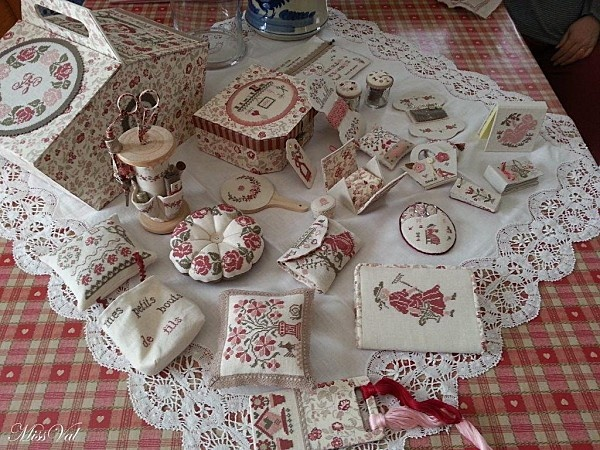 Look at this wonderful embroidered sewing set. Imagine how many hours it took to complete the project.