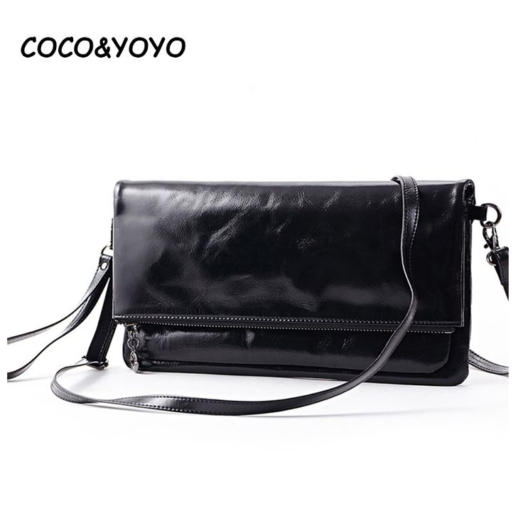 2016 New Arrival Fashion Black 100% Genuine Leather Women Bag Designer Casual Small Envelope Messenger Bags Brown Clutch Bags