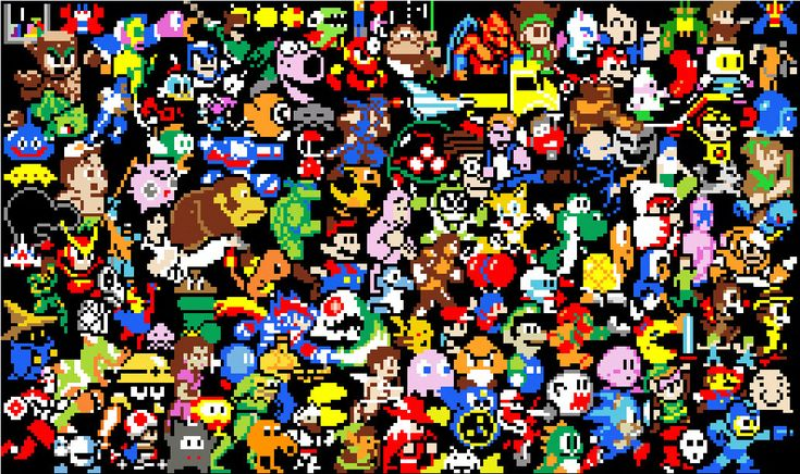 Collage of 8bit Retro Gaming Characters Video Games