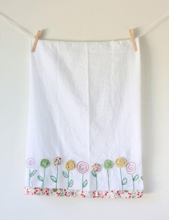 Embroidered Flour Sack Tea Towel with Fabric Flower Appliqué   Love, love the flowers