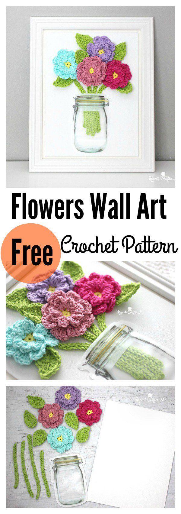 Crochet Flowers on Canvas Wall Art Free Pattern