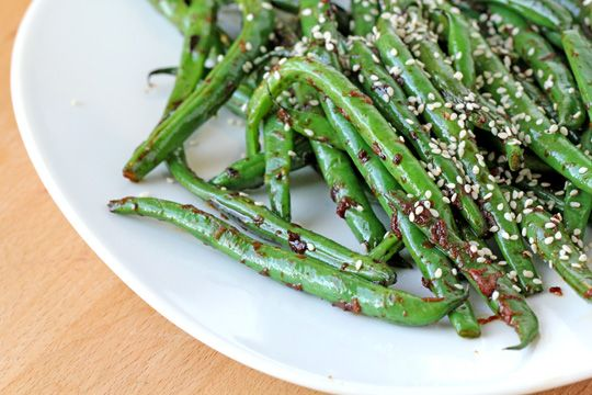 Blistered Green Beans with Ginger & Garlic