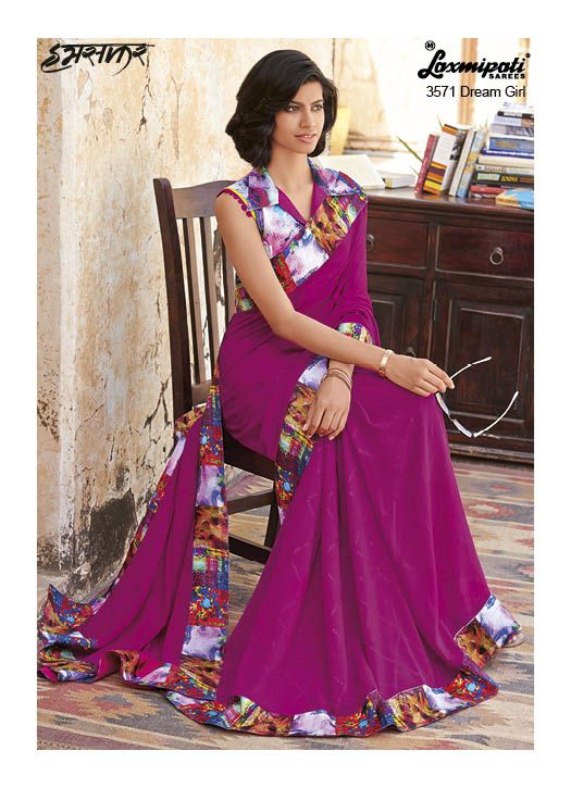 Magnificent Magenta Coloured Georgette Saree with Digital Abstract Printed Multicoloured Lace added Smoky effect which will bring out the feel of a Style Icon within you. It Comes with Multicoloured Pashmina Blouse with it.