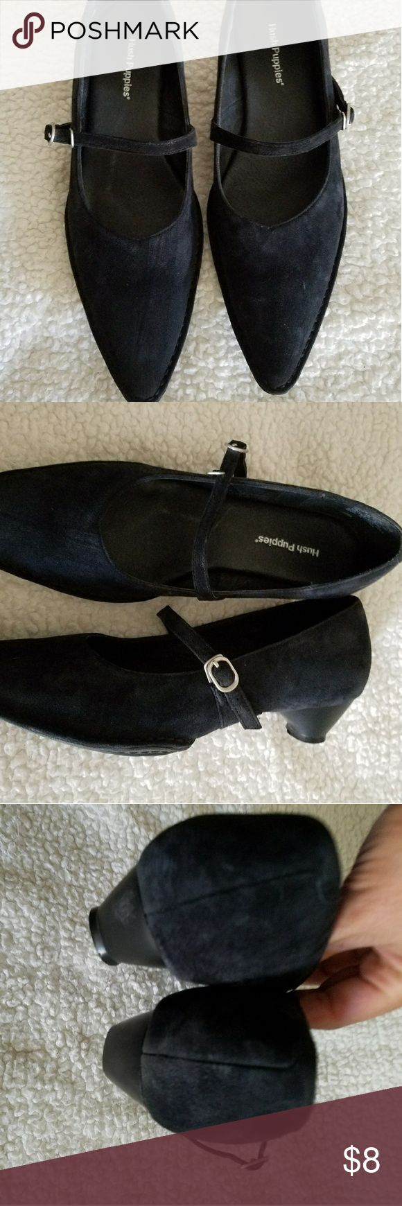 Suede Mary Janes Pointy toe Mary Janes. Pre loved and in excellent condition other than the heel is missing the rubber part on the bottom. They're a 9.5 wide, but I'm a size   10 and they fit me just right and I have a narrower foot. **Price reflects condition of heel. Hush Puppies Shoes