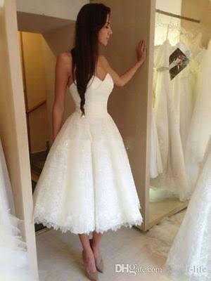 lace tea length wedding dress - Google Search