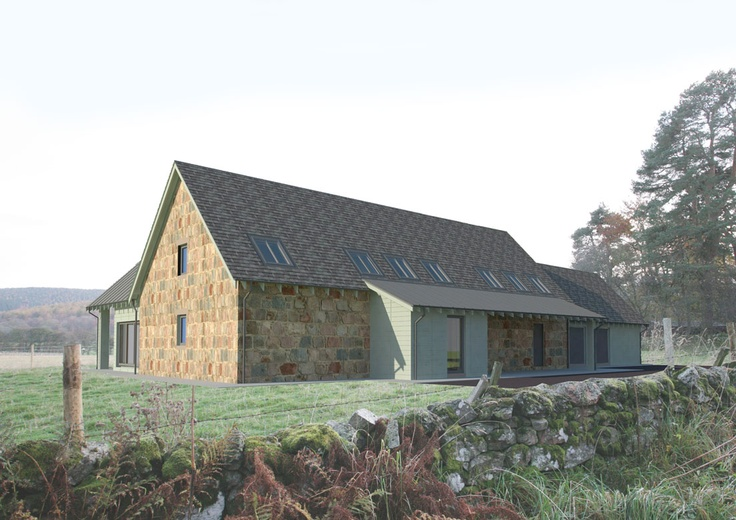 New energy efficient house in Ballogie Aberdeenshire designed by www.jamstudio.uk.com - 3D concept image - Exterior roadside view