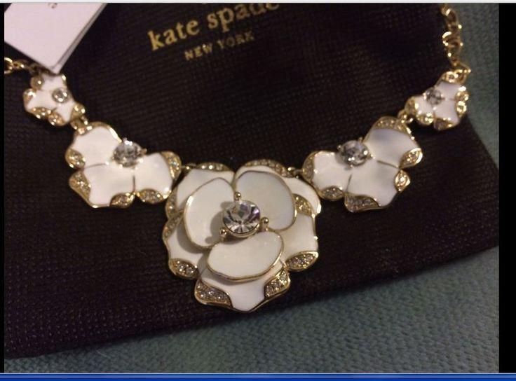 Kate Spade White Beach House Bpuquet Pendant Necklace Sparkles NewTag SAL #katespade #ClusterBibLike