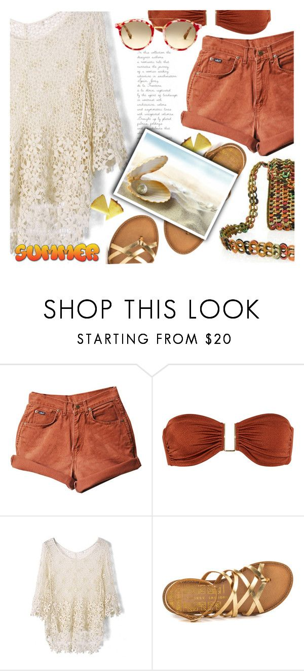"""""""Shorts and Top"""" by divni ❤ liked on Polyvore featuring Melissa Odabash, Chicwish, Chinese Laundry, NOVICA and Summer"""