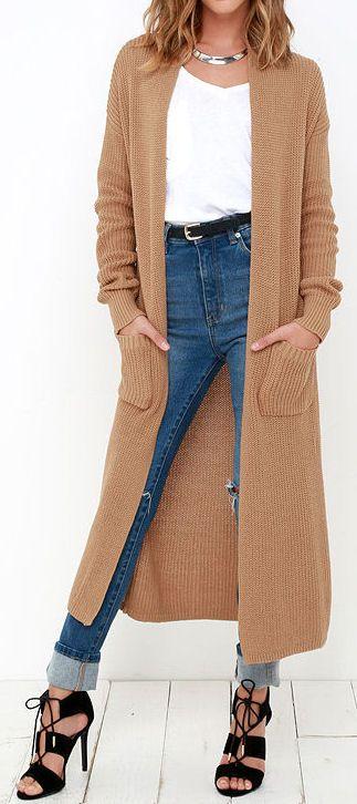 611fab00c Taupe Long Cardigan Sweater ❤  fall  fashion  inspiration ...