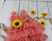 Coral Flower Girl Dress Sunflower Flower Girl Dress Rustic Coral Flower Girl Dress Coral Jr Bridesmaid Dress Coral Country Wedding Dress