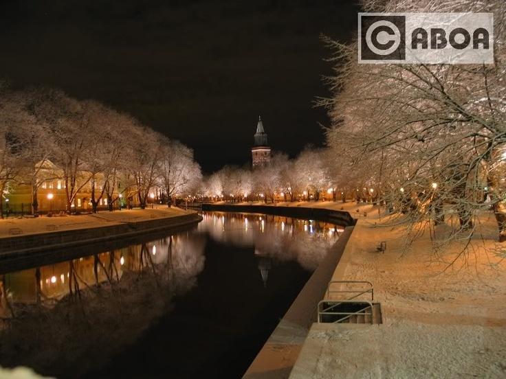 Turku, riverside in the wintertime