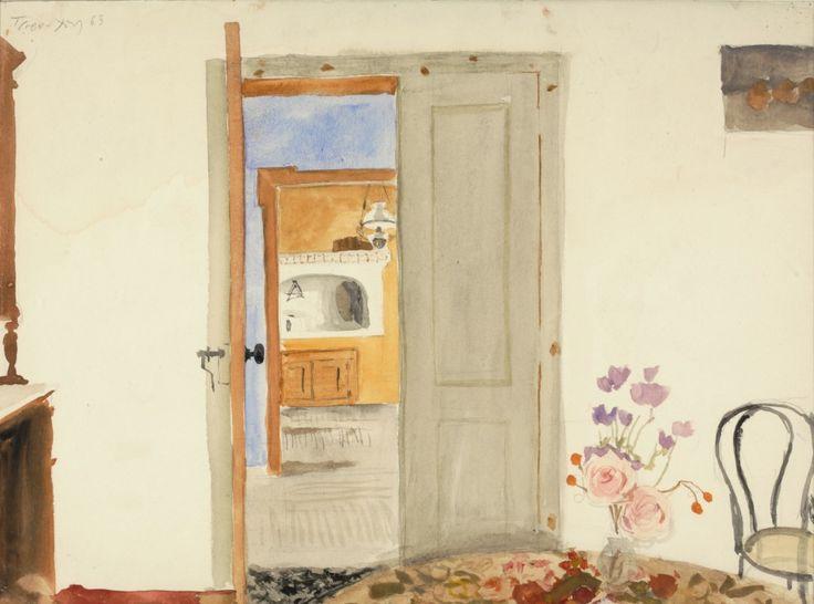 Εσωτερικό του σπιτιού του Teriade στη Μυτιλήνη, 1963. Νερομπογιά σε χαρτί, 26,0 x 34,5 εκ.  ©Ίδρυμα Γιάννη Τσαρούχη