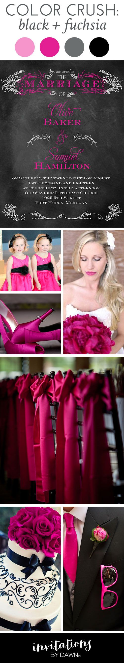 Color Crush: Black and Fuchsia #weddingcolors