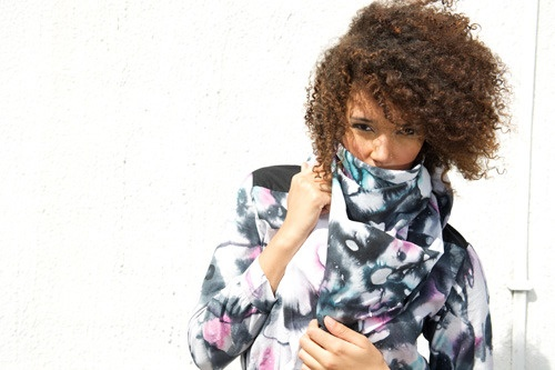 Watercolor petals scarf by Choolips.  Hand printed Batik, Ghana | stitched in Kenya | fairly traded | hand washed & air dried | locally sourced | Azo free dyes. #fairtrade
