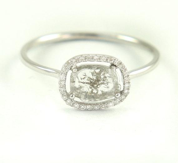 Diamond Slice  Ring White 14K Gold Pave Diamonds by Tulajewelry, $550.00