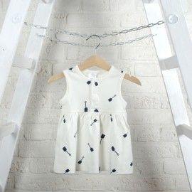 Tinycottons letnia sukienka/ biała/ akcesoria plażowe