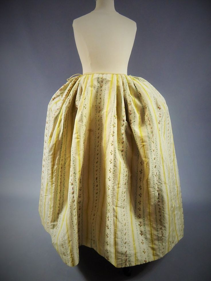 "Petticoat, robe à la francaise, France, ca. 1760. ""Mexicaine"" silk taffeta with yellow stripes on cream ground alternating with stripes with small bouquets on light blue and cream ground, linen lining. Sleeve ruffles with pink trimmings."