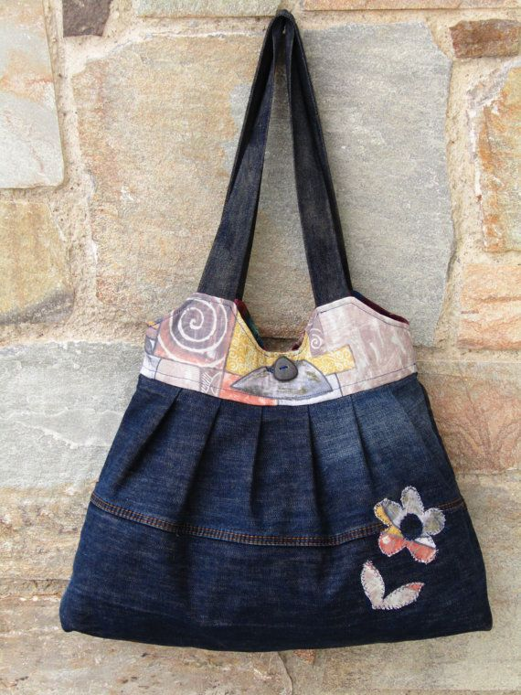 Upcycled denim an upholstery fabric tote bag by ZayiaCraft on Etsy