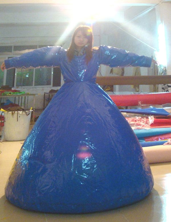 inflatable sealed duplex dress made of high quality pvc, with all hot welded seam,s and valve inflatation with the longer victorian style skirt and shaped bodice