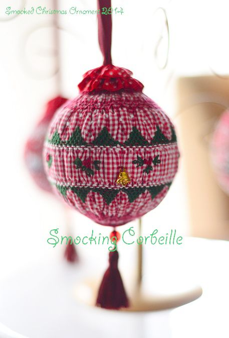 Smocked Christmas Ornament 2014 ~Smocking Corbeille,Tokyo,Japan Used 1.5mm gingham check fabric~ Counterchange,Picture smocking