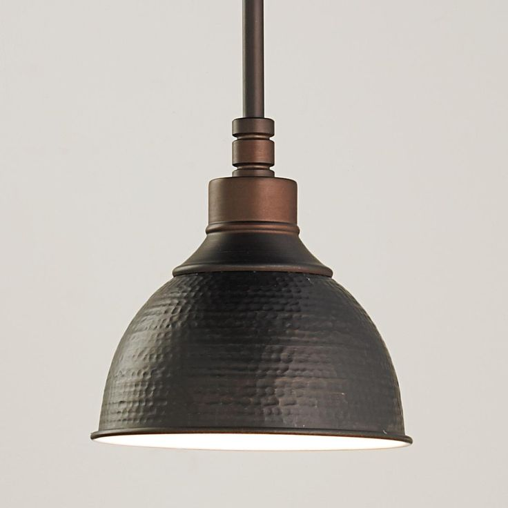 "A hammered metal shade takes this pendant light to the industrial side while modern tooling gives it a contemporary edge. Antique Nickel, copper Bronze, or Antique Brass. 100 watts medium socket. Comes with 3-12"" rods, 1-6"" rod and a swivel for vaulted ceilings (up to 20 degrees). (7""Hx7""W) Hammered Metal Pendant Light - Small $82"