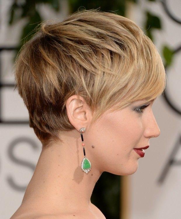 Kurzhaarfrisuren rundes Gesicht Strähnen blonde Haare